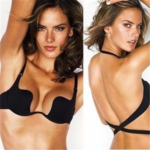 Other - 32-38 D BLACK backless 3 way plunge push up bra